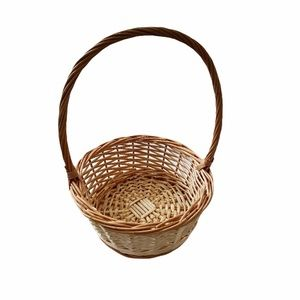 Natural Round Wicker Basket With Long Handle